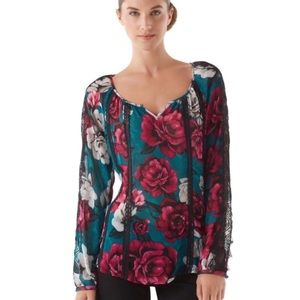 WHBM peasant sheer floral & lace blouse size small